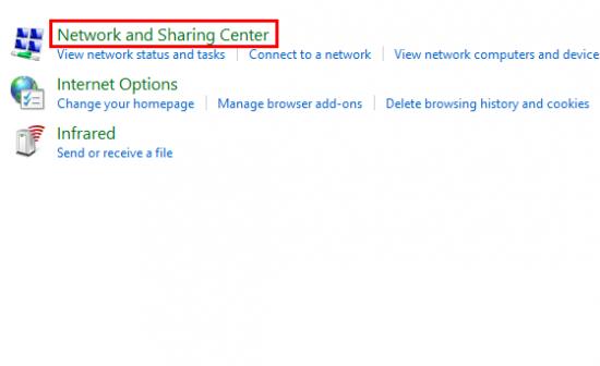 Klik Network and Sharing
