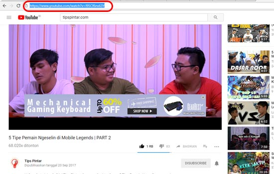 Copy URL Video YouTube