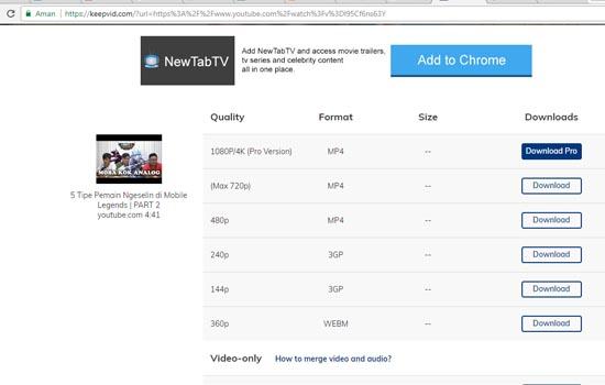 Pilih Format Video untuk di Download