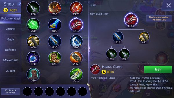 Haas's Claws - Item Mobile Legends