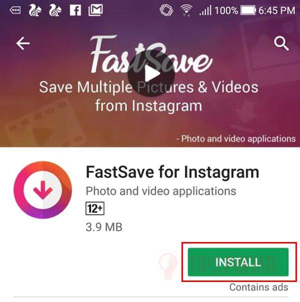 Install Aplikasi FastSave for Instagram